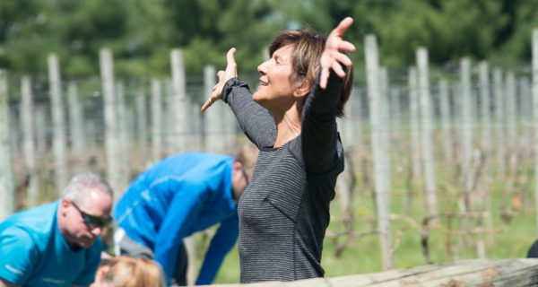 The Inaugural Vino & Vinyasa Event At Crossing Vineyards And Winery