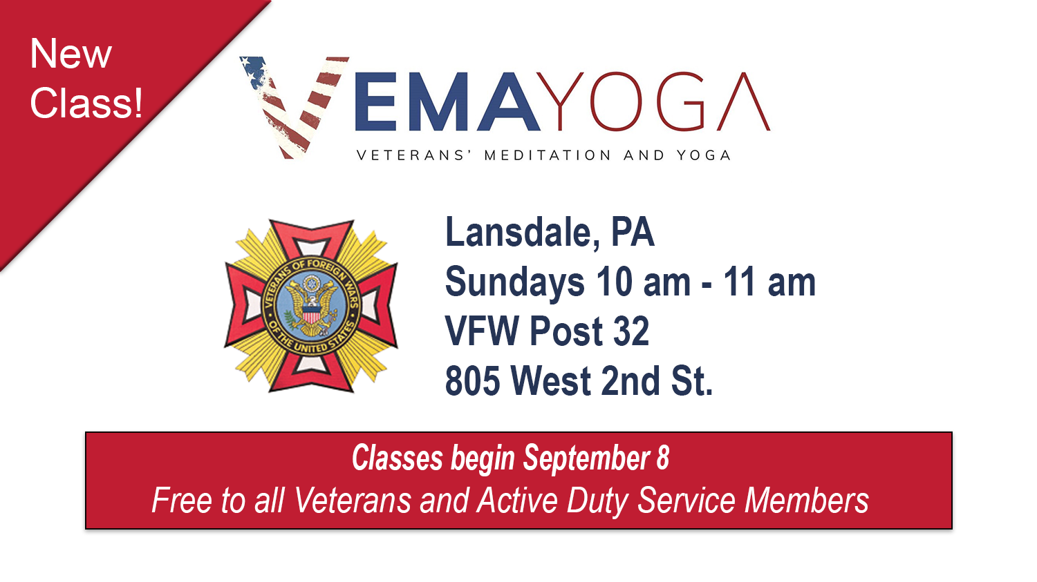 New VEMA Yoga class in Lansdale